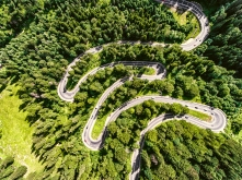 Cars on winding road trough the forest aerial view